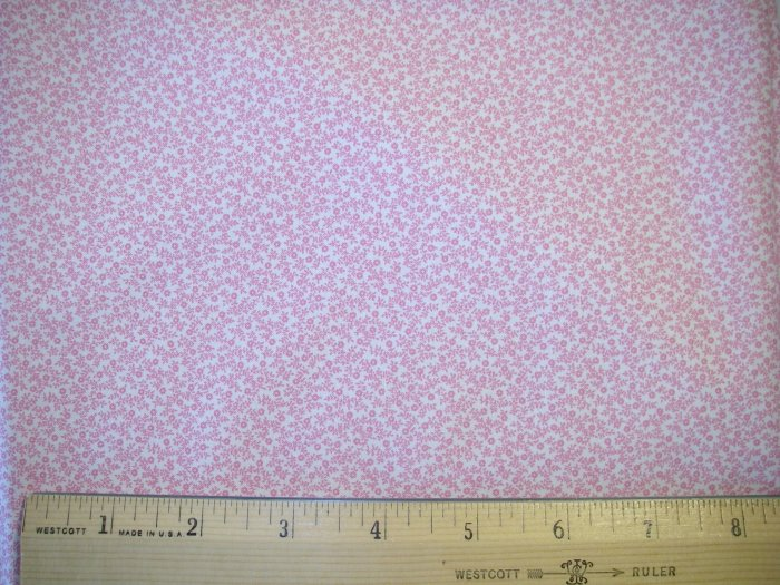 1 yard -  Tiny Pink Flowers on Tan background fabric