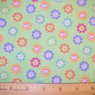 1 yard -  Flower Power - Green with Pastel Funkky flowers fabric