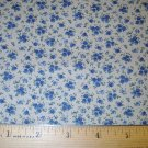 1 yard -  Antique look - Tiny blue flowers on tan background fabric