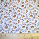 1 yard -  Civil War Reproduction - Gold flowers with red, blue accests on white fabric