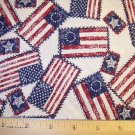 1 yard -  Flags tossed all over - Dark Red, Blue & Off-white colors in fabric - Patriotic USA