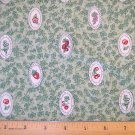 1 yard -  Green with fruit designs in ovals on fabric - Reproduction look