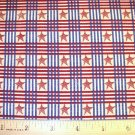 1.25 yard - Debbie Mumm - South Seas Imports - Stars in Red and Blue plaid pattern fabric