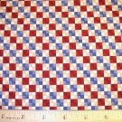 1.75 yard -  Debbie Mumm - South Seas Imports - Red, blue and tan checkerboards