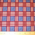 1.875 yard - Debbie Mumm - South Seas Imports - Red plaid with blue center blocks fabric