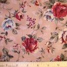 1.875 yard - Cottage roses on dark tan background fabric