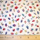 35 inches -  Multi-colored Birdhouses tossed on White background fabric