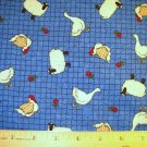 1 yard - Goose, Chickens and sheep all over blue background fabric