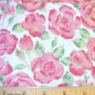 1 yard -  Large red watercolor roses with green leaves on white fabric