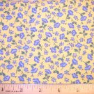 1 yard -  Yellow with blue flowers fabric