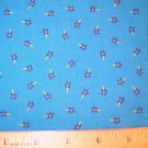 1 yard -  Marcus Brothers - Blue with Tiny Purple Flowers fabric