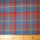 1 yard - Homespun - Blue and rust plaid fabric