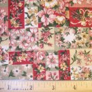 34 inches - Pink, Red and Tan floral prints - VIP Cranston Print works fabric