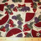 1 yard - Watermelon slices with Grapes and Strawberries on beige background fabric
