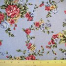 1.66 yard - Cottage Roses on light blue background fabric