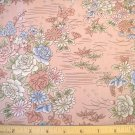 1.33 yard - Asian Splendor - Pink fabric with light blue, sage and pink flowers all over