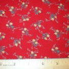 2.66 yard total - Red fabric with tiny yellow roses and green leaves