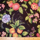 1 yard - Black fabric with multi-colored fruit and flowers all over
