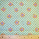 1.875 yard - Debbie Mumm - Green checkerboard with orange daisies all over fabric - Piece #2