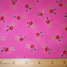 1 yard - Hot pink fabric with red flowers, purple leaves and gold accents
