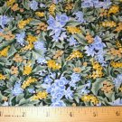 1 yard - Blue and yellow flowers on green leaf background fabric