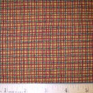 1.25 yard - Northcott - Roosters Roost # 2167 - Mustard yellow with red and green grid lines fabric