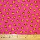 1 yard - Hot pink with Orange Stars fabric - VIP Cranston Print Works