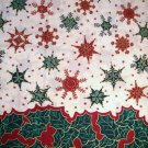 1.75 yard - Single border Holly, Snowflakes dark green & red on off-white fabric Holiday Christmas