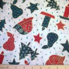 1 yard - Holiday Theme - Candles Bells, Pears, Stars, Trees tossed allover off-white fabric