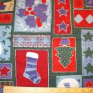 7/8 yard - Large patches on green background with glitter accents on fabric - Holiday, Christmas