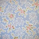 7/8 yard - Antique roses tossed on light blue fabric