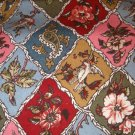 1 yard - European look diamonds with flowers, birds, paisley, ferns - pink. blue, olive, red fabric
