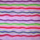 1.5 yard - Pink, purple, red, green, blue wavy striped fabric