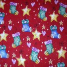 1 yard -  It's the Most Wonderful Time of the Year - Stockings and stars all over fabric