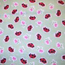 2.33 yards - Mint green flannel fabric with ladybugs & flowers all over
