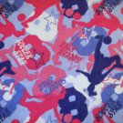 1.5 yard - Soccer Star flannel fabric - Pink, blue, purple, white - Piece #2
