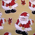 1.875 yards - Large Santa Claus design all over light gold tan background fabric