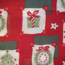 2.75 yards - Red fabric, light and dark sage & cream squares - trees, wreaths & packages fabric