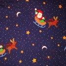 1.875 yards - Navy blue fabric with Santas in sleigh with reindeer and stars all over