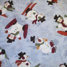 3/4 yard - Light blue fabric with snowmen all over