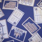 1 yard - Postcard print on medium blue fabric - tan, white, blue