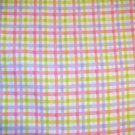 1 yard - Pink, pale blue and lime green flaid flannel fabric