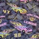 1 yard - Black marble look fabric with pink and yellow cars and accents - racing fabric