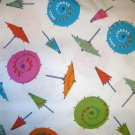 1 yard - Fancy drink umbrellas on white fabric