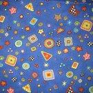 1.75 yard - Blue fabric with geometric designs