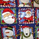 1.5 yard - Santa, Bear, Snowmen in squares all over fabric