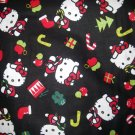 1 yard - Hello Kitty Holiday on black fabric