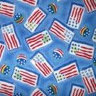 1.875 yards - Flags on medium blue - watercolor look printed fabric