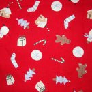 1 yard - Red fabric with tiny holiday items