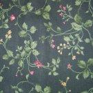 1 yard - Green ivy and vines on dark green fabric